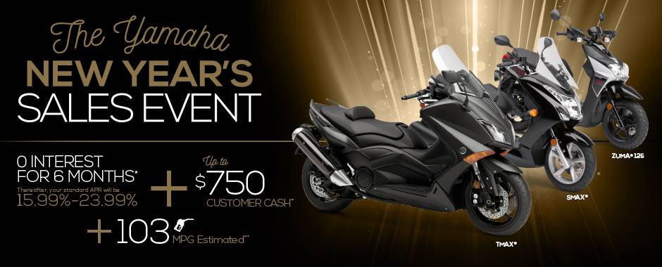 The Yamaha NEW YEAR'S SALES EVENT - Scooters - Current Offers & Factory Financing