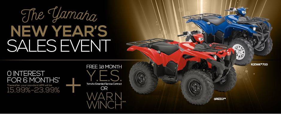 The Yamaha NEW YEAR'S SALES EVENT - Utility ATV - Current Offers & Factory Financing