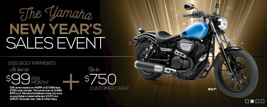 The Yamaha NEW YEAR'S SALES EVENT - Street Motorcycle - Cruiser/Touring - 3.99% APR + $1250 - MY2015