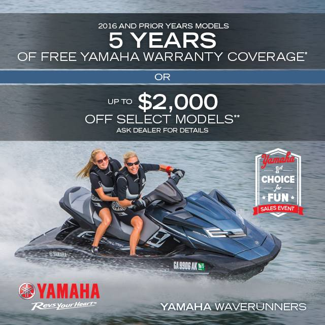 Yamaha Waverunners - The Choice for Fun Sales Event - 5 YEAR WARRANTY OR CASH BACK