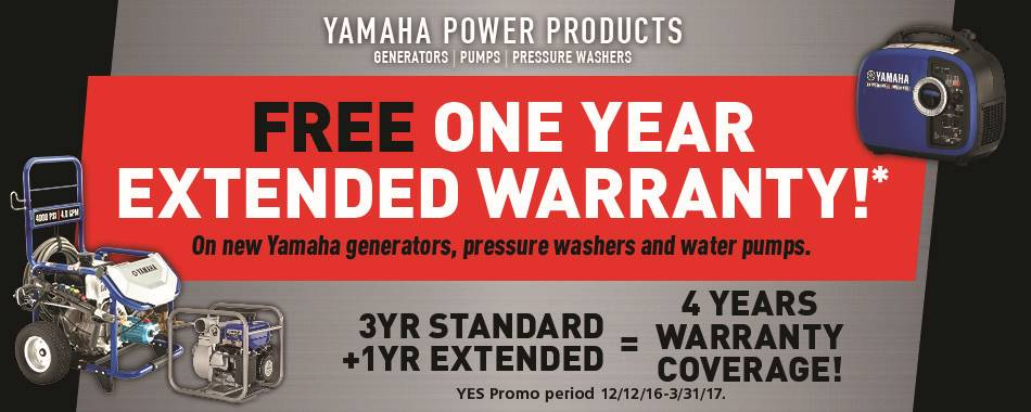 The Yamaha NEW YEAR'S SALES EVENT - Power Equipment - Extended Warranty - MY2014-2016