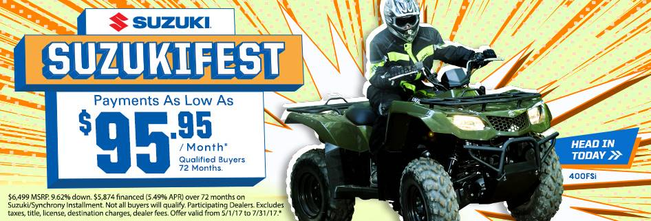 Suzuki Suzukifest KingQuad 400ASi and 400 FSi Payments as Low as $99.95 / Month